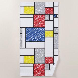 Mondrian Scribles Minimalistisch De Stijl Modern A Strandtuch