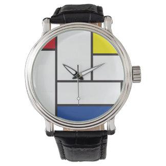 Mondrian unbedeutende De Stijl Kunst-Uhr Uhren