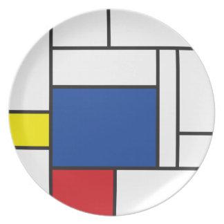 Mondrian unbedeutende De Stijl Melaminteller