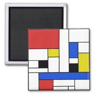 Mondrian zeichnet den 2 Zoll-quadratischen Quadratischer Magnet