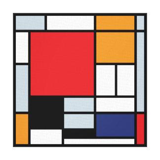 Mondrian - Zusammensetzung mit großem rotem Galerie Falt Leinwand