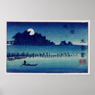 Mondschein-NachtHiroshige Japaner-schöne Kunst Poster