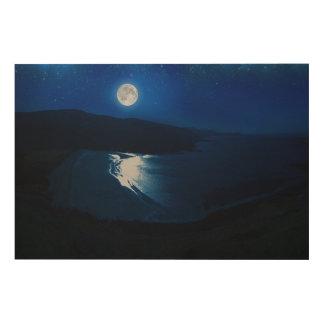 Mondschein-Schottland Holzleinwand