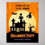 Mondschein-Spuk Haus im Graveyard - Halloween Poster