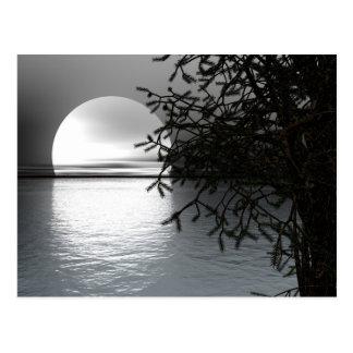 Mondschein über dem Wasser Postkarte