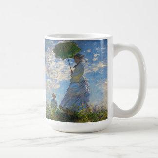 Monet die Promenaden-Frau mit einer Kaffeetasse