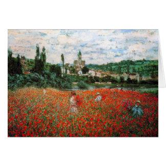 Monet Feld der roten Mohnblumen-Gruß-Karte Karte
