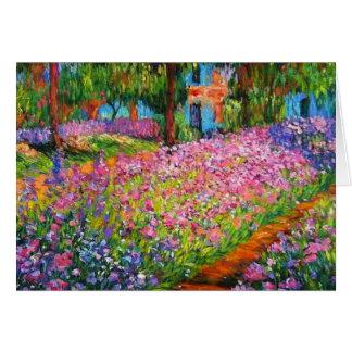 Monet Iris-Garten-Entwurf mit rosa Hintergrund Karte