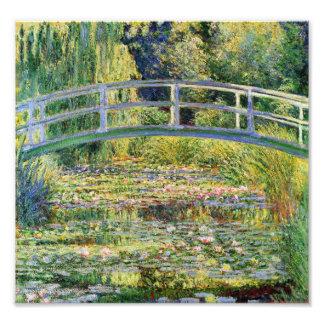 Monet japanische Brücke mit Wasser-Lilien-Druck Kunstfoto