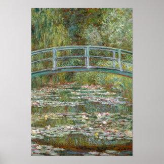 Monet Kunst-Brücke über einem Teich der Poster