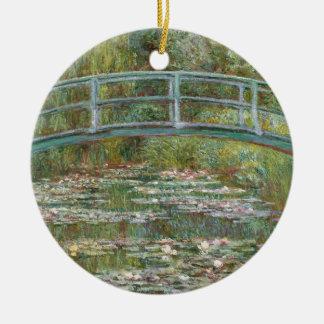 Monet Kunst-Brücke über einem Teich der Rundes Keramik Ornament