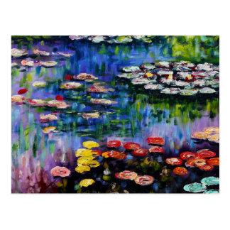Monet lila Wasser-Lilien-Postkarte