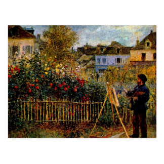 Monet Malerei in seinem Garten durch Claude Monet Postkarte