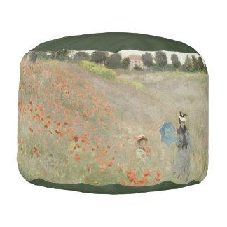 Monet Mohnblumen-Feld-Impressionismus-Puff-Kissen Runder Sitzpuff