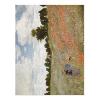 Monet, Technik 1873 Claudes Mohnblumen? L auf-Leu Postkarte