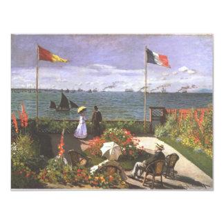 Monet Terasse morgens Meeresufer von Sainte 10,8 X 14 Cm Einladungskarte
