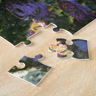 Monet - Wasser-Lilien, blaues Indigo Puzzle