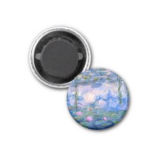 Monet Wasser-Lilien Runder Magnet 3,2 Cm