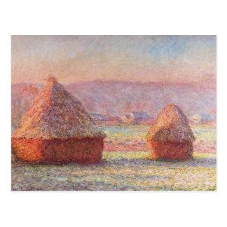 Monets Heuschober, weißes Frost, Sonnenaufgang Postkarte