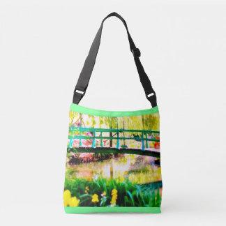 Monets japanische Garten-Aquarell Crossbody Tasche
