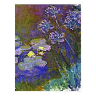 Monets Wasser-Lilien und Agapanthus Postkarte
