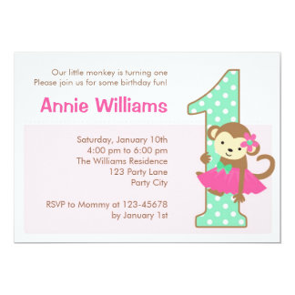 Monkey 1. Geburtstags-Einladung für Mädchen mit 12,7 X 17,8 Cm Einladungskarte