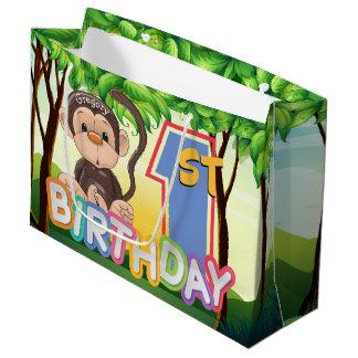 Monkey 1. Geburtstags-Party-Gewohnheit Große Geschenktüte