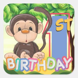 Monkey 1. Geburtstags-Party Quadratischer Aufkleber