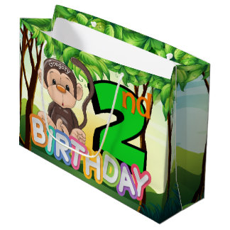Monkey 2. Geburtstags-Party-Gewohnheit Große Geschenktüte