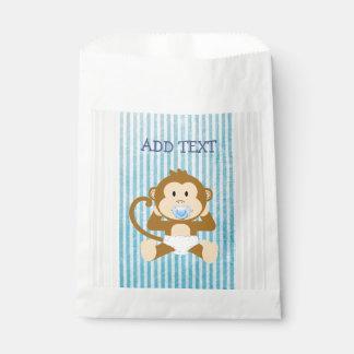 Monkey Baby-Duschen-blaue gestreifte Geschenktütchen