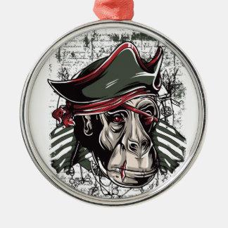 monkey den niedlichen Entwurf des Piraten Silbernes Ornament