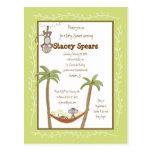 Monkey herum Babyparty-Einladungen Postkarte