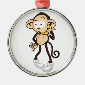 Monkey with banana mobile phone silbernes ornament