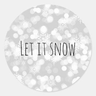 Monochrom ließ es schneien runder aufkleber