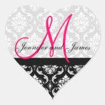 Monogram Damask Wedding Favour Stickers Pink