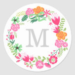 Monogram Wreath   Envelope Seal Sticker
