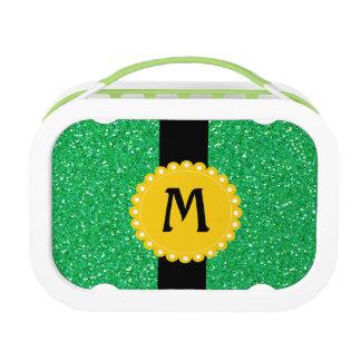 Monogramed Glitter-Grün-Mittagessen-Kasten Brotdose