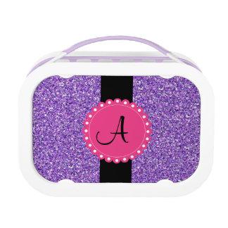 Monogramed Glitter lila mit heißes Brotdose