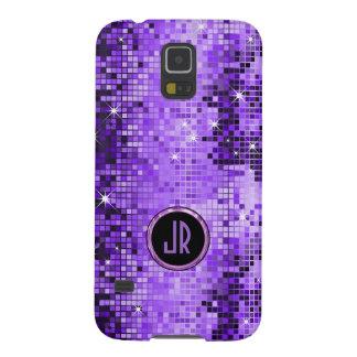 Monogramed lila Disco-Ball-Glitzer Samsung Galaxy S5 Hülle