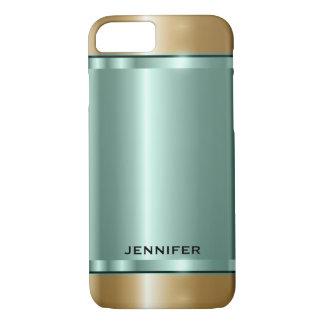 Monogramed metallisches Minze-Grünes und Gold iPhone 8/7 Hülle