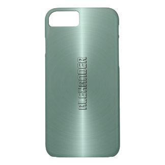 Monogramed Minze-Grüner metallischer Hintergrund iPhone 8/7 Hülle