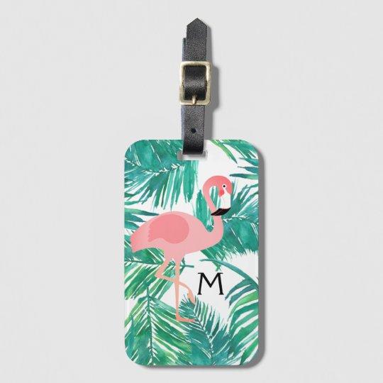 Monogramflamingokunst auf tropischem Blätter Gepäckanhänger