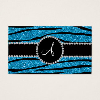 Monogramhimmelblau-Glitter Zebra stripes Kreis Visitenkarte