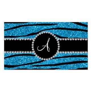 Monogramhimmelblau-Glitter Zebra stripes Kreis Visitenkarten