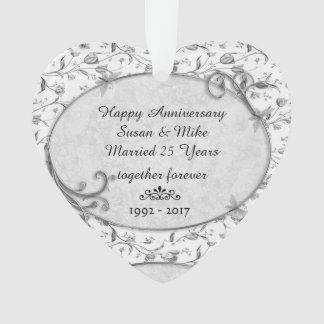 Monogramm 25. Wedding Anniversar Ornament