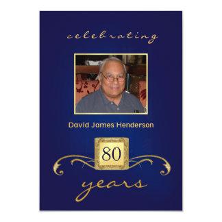 Monogramm-80. Geburtstags-Einladungen mit Foto