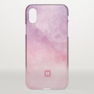 Monogramm. Abstrakt. Schatten des rosa Aquarells iPhone X Hülle