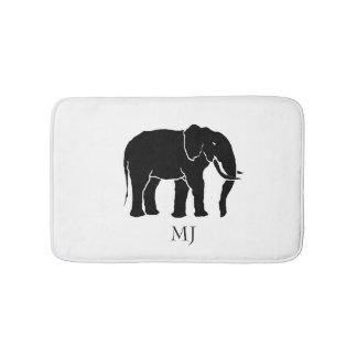 Monogramm-afrikanischer Schwarzweiss-Elefant Badematten