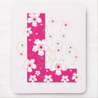 Monogramm Anfangsl hübsches rosa Blumenmousepad Mauspads