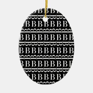 Monogramm-Anfangsmuster, Buchstabe B im Weiß Keramik Ornament